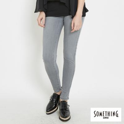 SOMETHING LADIVA 經典刷色伸縮窄直筒褲-女-麻灰色