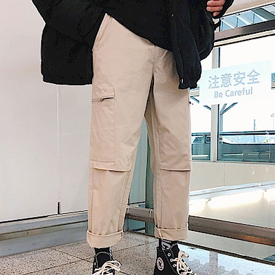 BuyGlasses 復古拉鍊直筒寬鬆工作褲