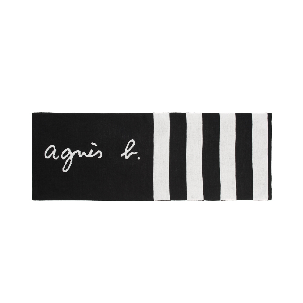 agnes b. 經典手寫logo黑白條紋圍巾