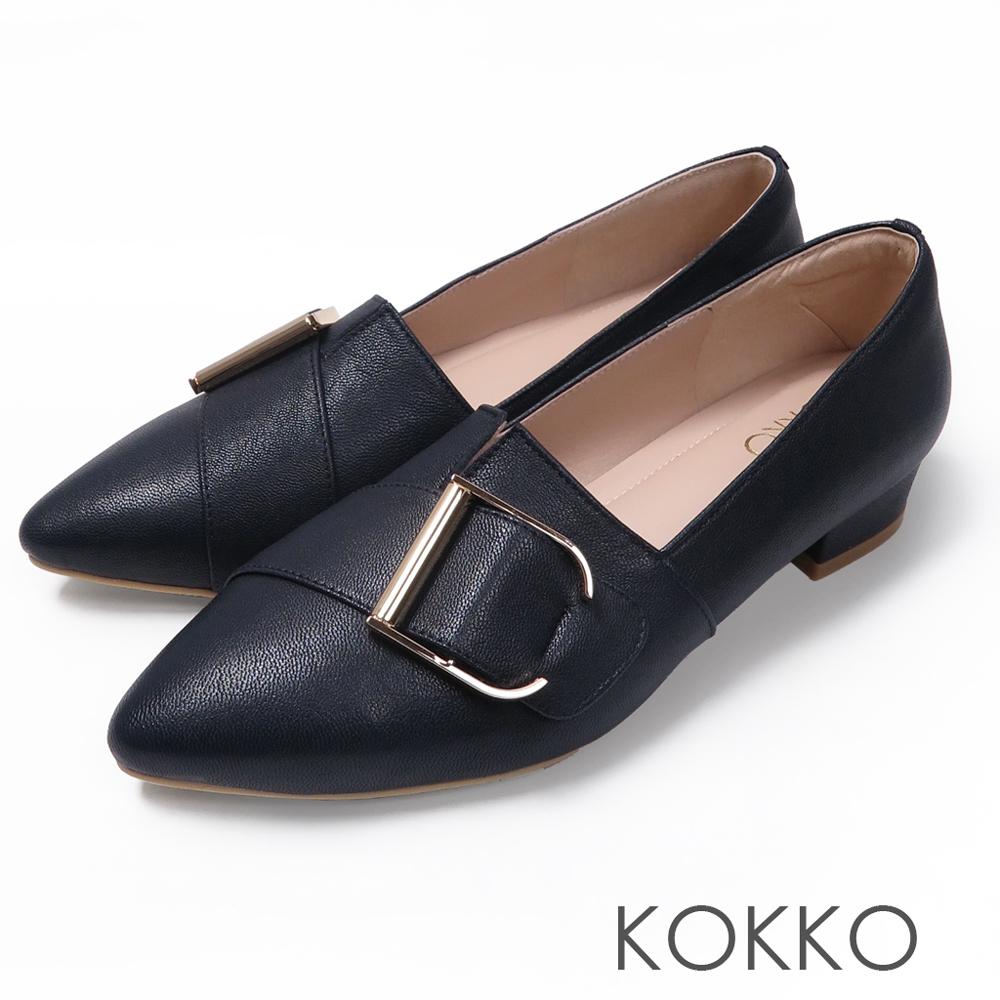 KOKKO - 泰晤士河畔尖頭環扣真皮平底鞋-西裝藍