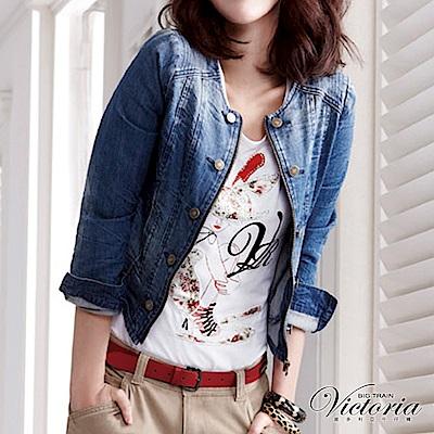Victoria TENCEL水洗牛仔外套-女-中藍