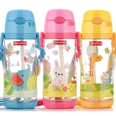 【優貝選】費雪 可愛動物 兒童背帶水壺 吸管水壺 550ML