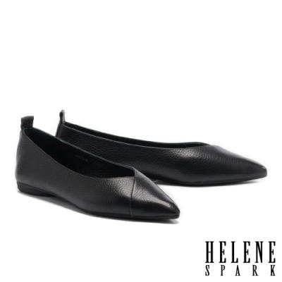 平底鞋 HELENE SPARK 極簡百搭全真皮尖頭平底鞋-黑