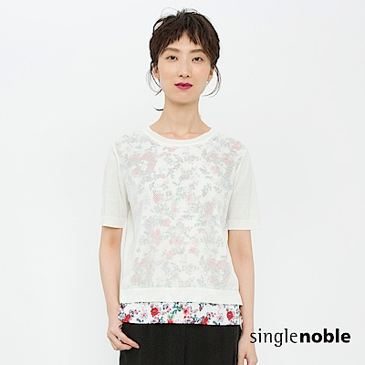 獨身貴族 時尚維度鏤空外罩花藝針織衫(2色)