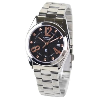 Arseprince 閃菱星刻時尚中性錶-黑色