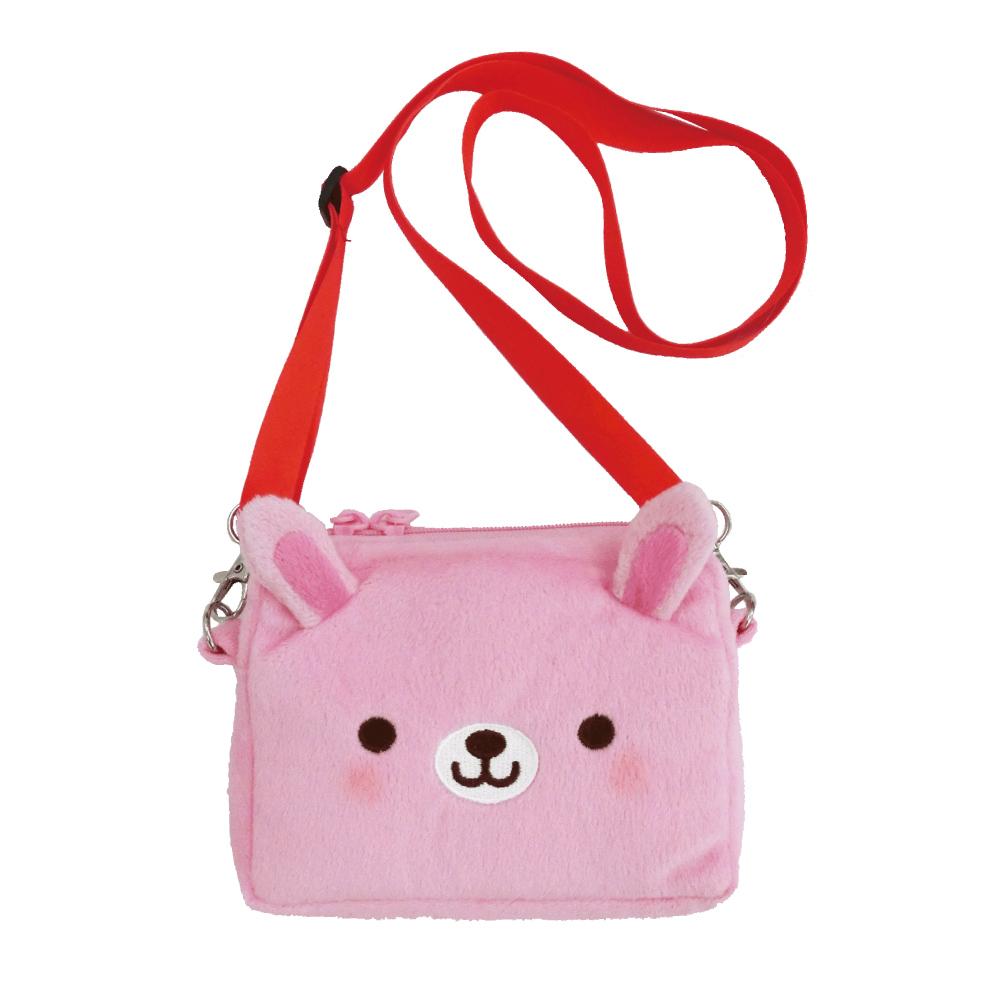 動物樂園側背收納袋。粉紅兔 UNIQUE