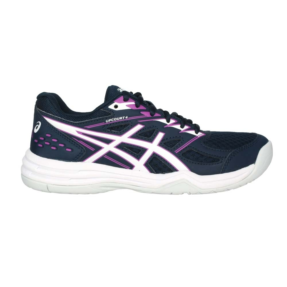 ASICS UPCOURT 4 女排羽球鞋-訓練 排球 羽球 亞瑟士 1072A055-401 丈青白紫