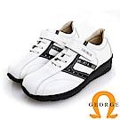GEORGE 喬治皮鞋 氣墊系列 魔鬼氈牛皮氣墊休閒鞋-白色