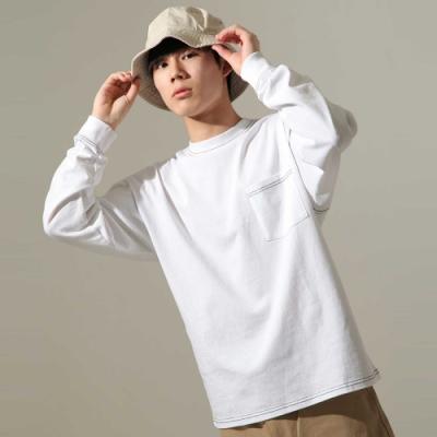 美國棉縫線造型長袖口袋T(3色) -ZIP日本男裝