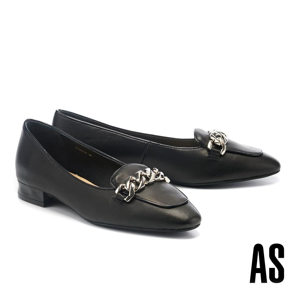 低跟鞋 AS 復古時尚感粗鏈條小方頭羊皮樂福低跟鞋-黑