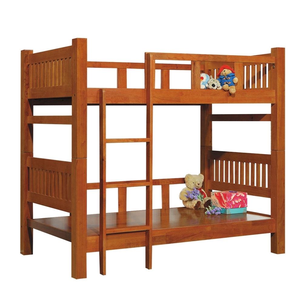 綠活居 里斯   現代3.5尺實木單人雙層床台組合-115x205x181cm免組