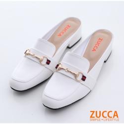 ZUCCA-環扣金屬紳士平底拖鞋-白-z6609we