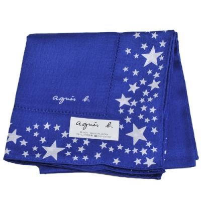 agnes b 品牌字母LOGO繽紛星星圖騰帕領巾(寶藍系)