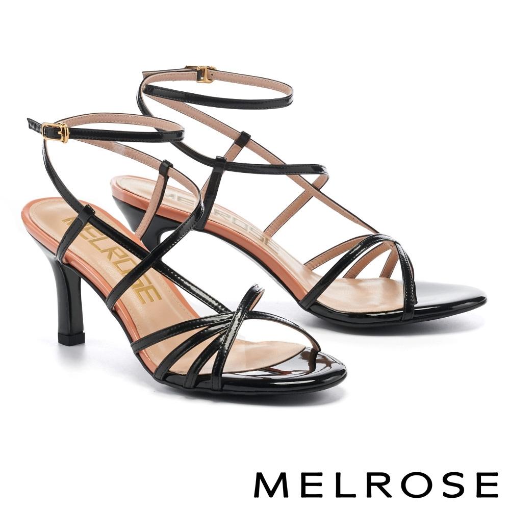 涼鞋 MELROSE 極簡時尚細帶跳色高跟涼鞋-黑