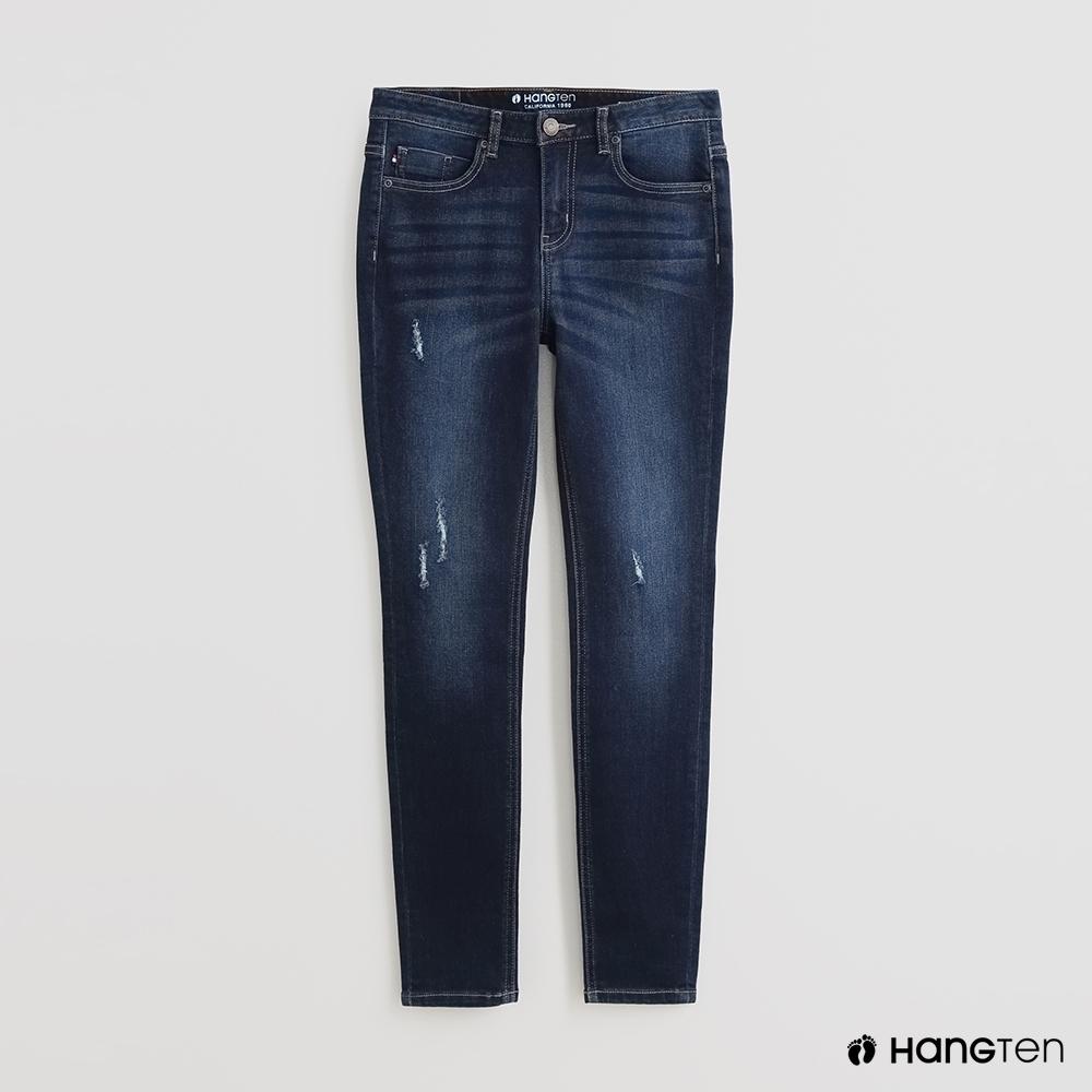 Hang Ten - 女裝 - 自然刷色微破牛仔褲 - 深藍