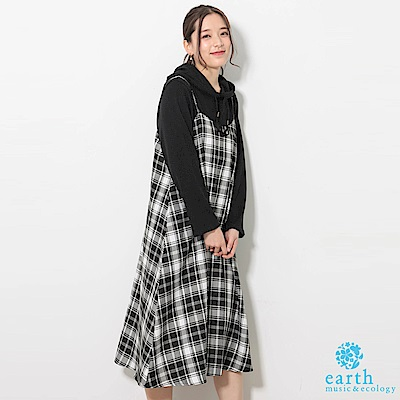 earth music 【SET ITEM】格紋細肩背心連身洋裝+素面連帽上衣