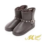 MK-金屬鉚釘內刷毛保暖雪靴-咖啡色  (兩色)