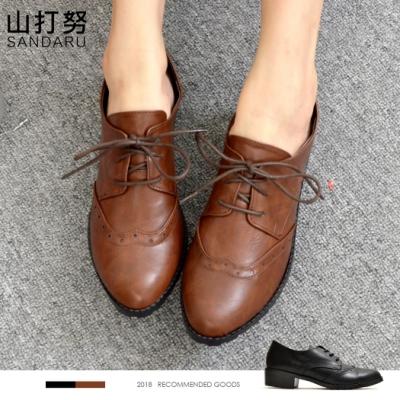 山打努SANDARU-紳士鞋 雕花綁帶低跟牛津鞋