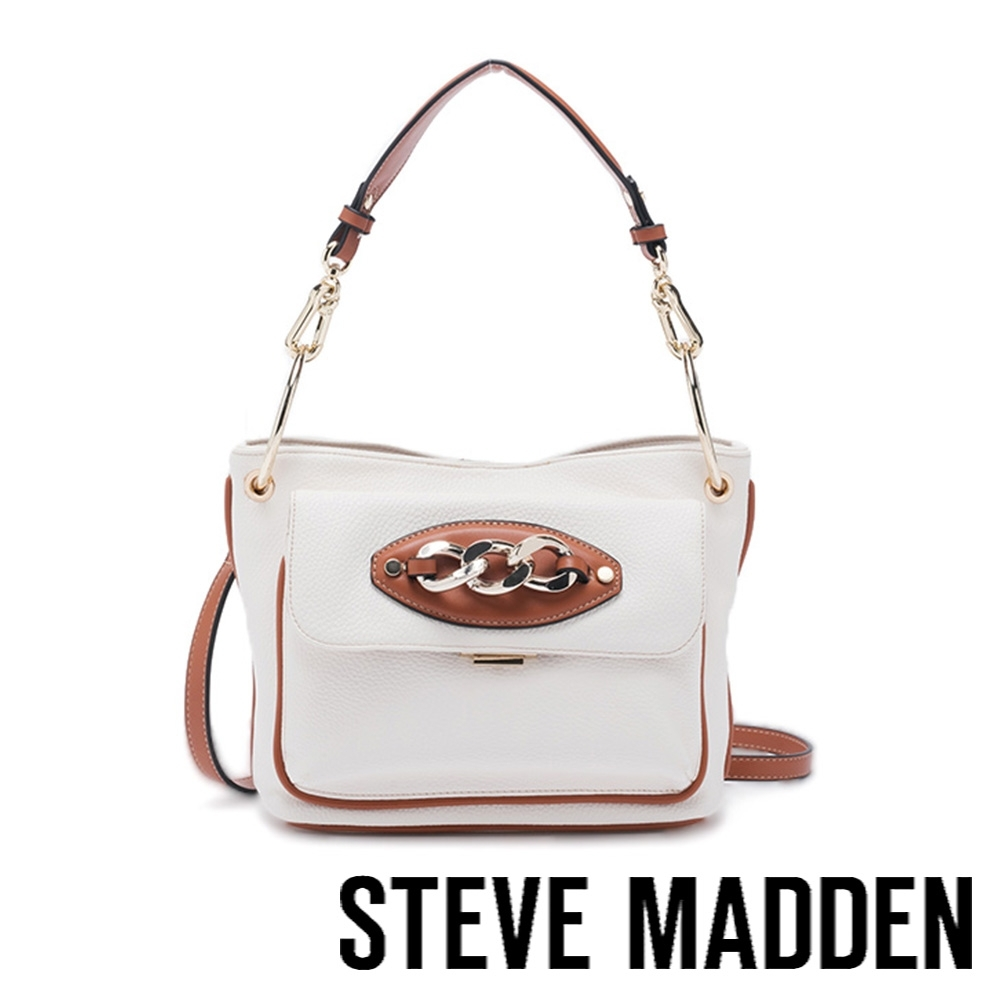STEVE MADDEN-BADLEY 皮質飾扣方形肩背斜兩用包-白色
