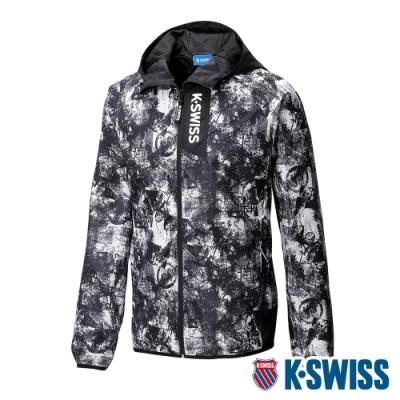 K-SWISS Nightsky Printed Jacket防風外套-男-黑/白