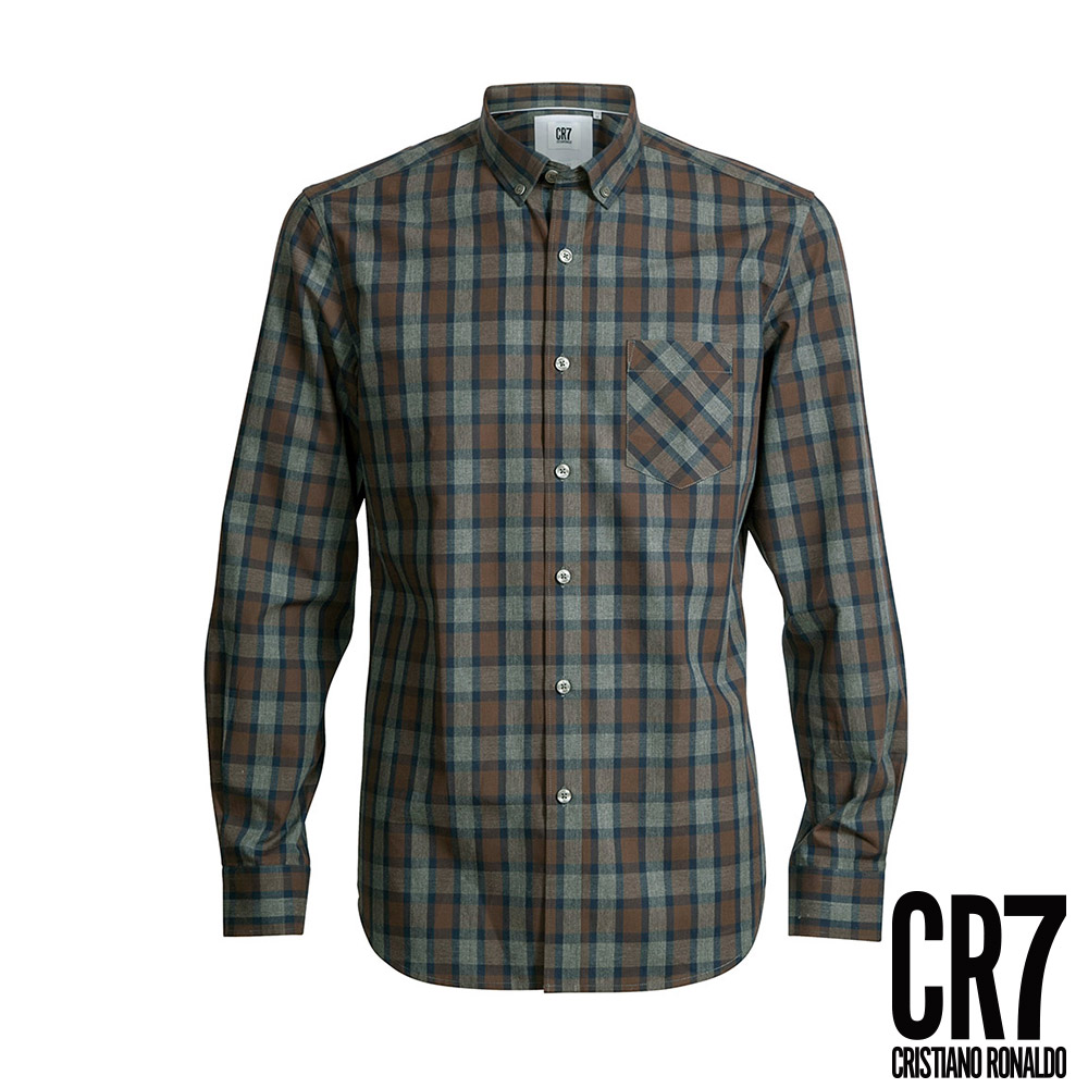 CR7-Slim Fit 藍咖灰格紋襯衫(8650-7200-323)
