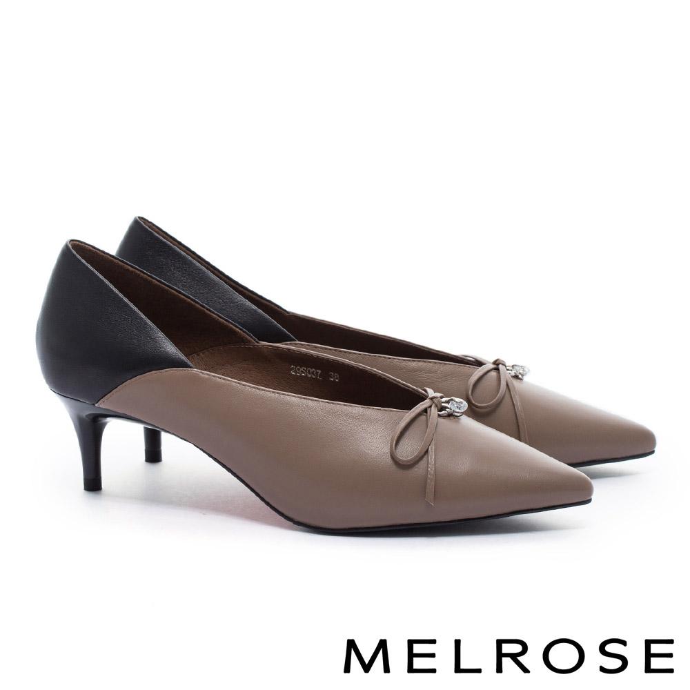 高跟鞋 MELROSE 撞色拼接造型羊皮尖頭高跟鞋-可可