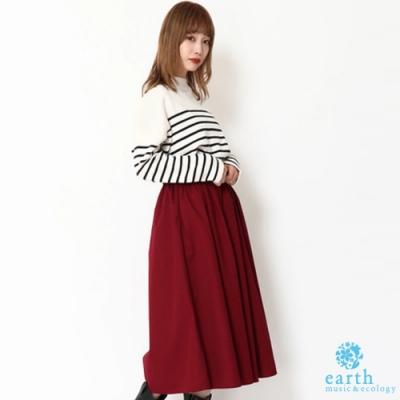 earth music 【SET ITEM】定番橫條紋落肩針織上衣+素面寬褲裙