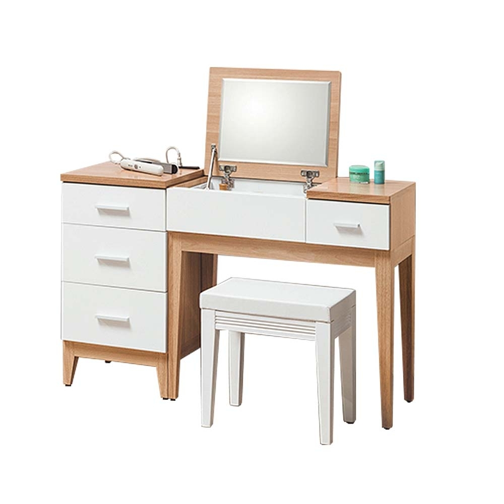 柏蒂家居-維也納3.8尺掀鏡式化妝桌三件組(化妝桌+置物櫃+化妝椅)-115x40x76cm