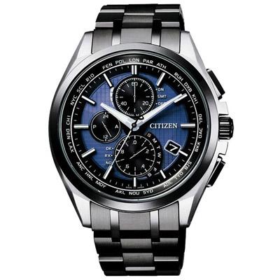 CITIZEN 冒險續航鈦金屬電波計時男錶(AT8044-72L)-黑框藍/42mm