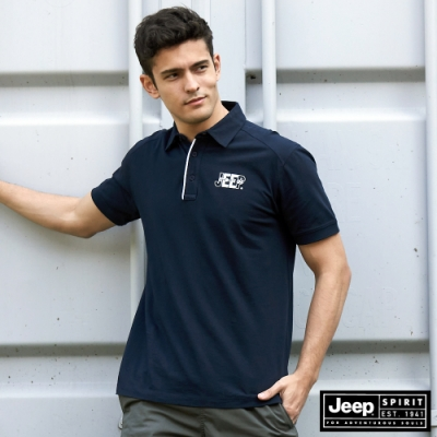 Jeep 男裝 極簡LOGO短袖POLO衫-深藍色