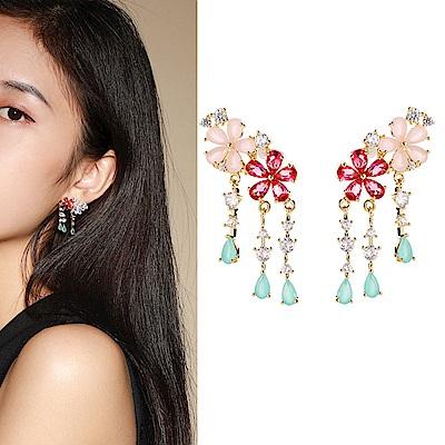 梨花HaNA 韓國925銀珠寶輕奢系列雙花垂綴流蘇耳環