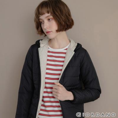 GIORDANO 女裝鋪棉連帽外套 - 09 標誌黑
