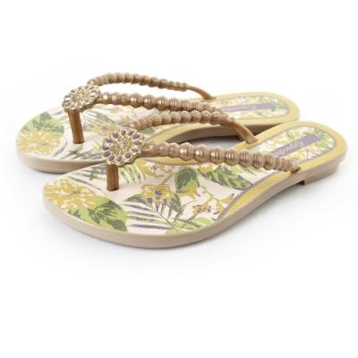 Grendha 可愛串珠人字帶夾腳鞋-金色