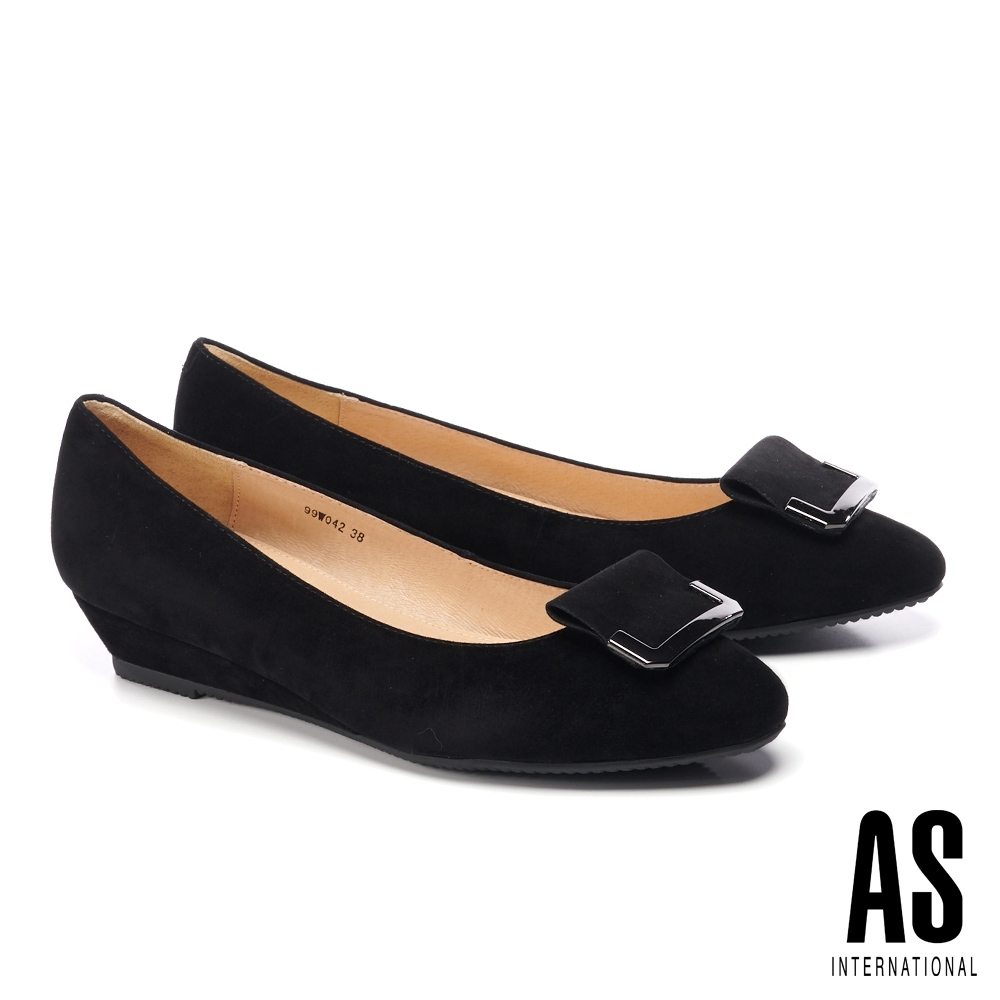 低跟鞋 AS 簡約內斂造型方釦全真皮楔型低跟鞋-黑