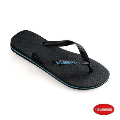 Havaianas哈瓦仕 拖鞋 夾腳拖 人字拖  巴西 男鞋 黑/藍綠色 4108555-7661M Top Logo Filete