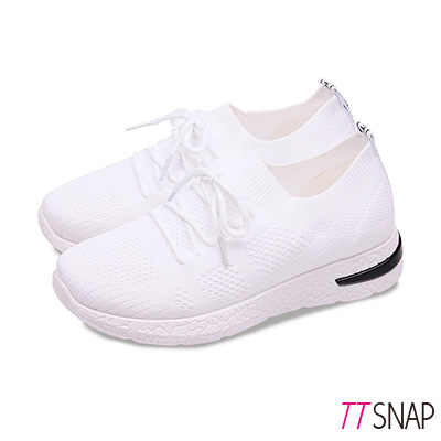 TTSNAP健走鞋-輕量飛梭織面綁帶慢跑休閒鞋 白