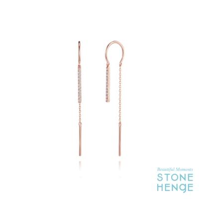 STONEHENGE 斯通亨奇 觸及真心同款14K玫瑰金線型長耳飾