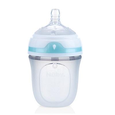 美國 Nuby Comfort 寬口徑防脹氣矽膠奶瓶 150ml (附慢流量奶嘴-圓孔)