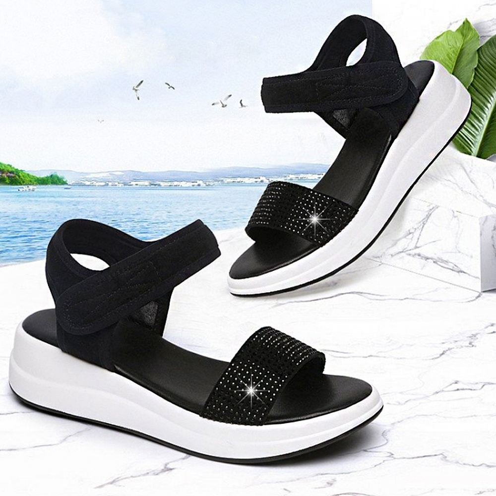 LN  現+預 韓版水鑽後底坡跟涼拖鞋(涼拖鞋/休閒鞋) (黑色)