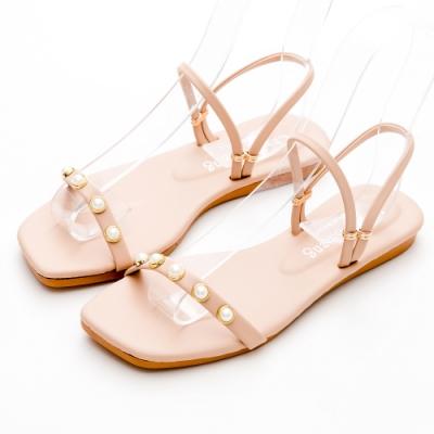 River&Moon涼鞋 台灣製一字珍珠2way方頭平底涼拖鞋 粉