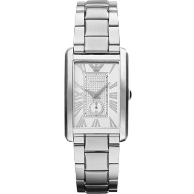 Emporio Armani  俐落方形腕錶(AR1639)銀/25x37mm