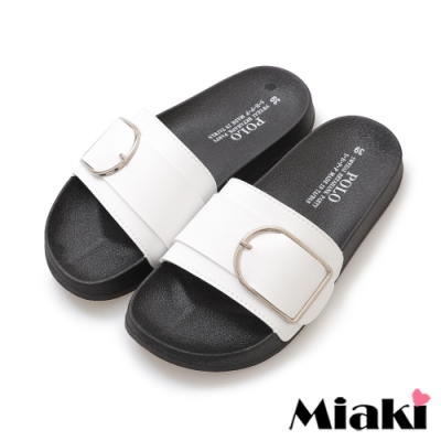 Miaki-拖鞋MIT素色輕便休閒平底涼拖-白