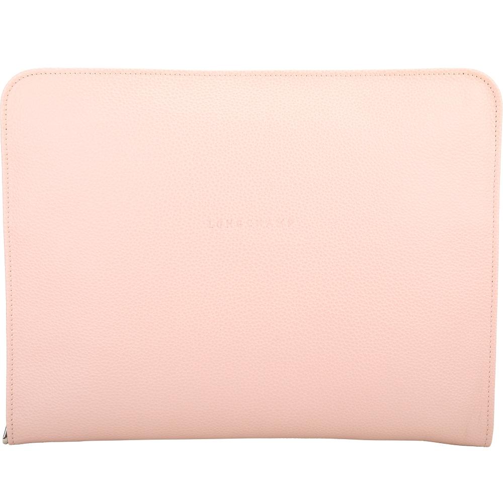 LONGCHAMP Le Foulonne 13吋 荔紋牛皮筆記型電腦包(粉色)