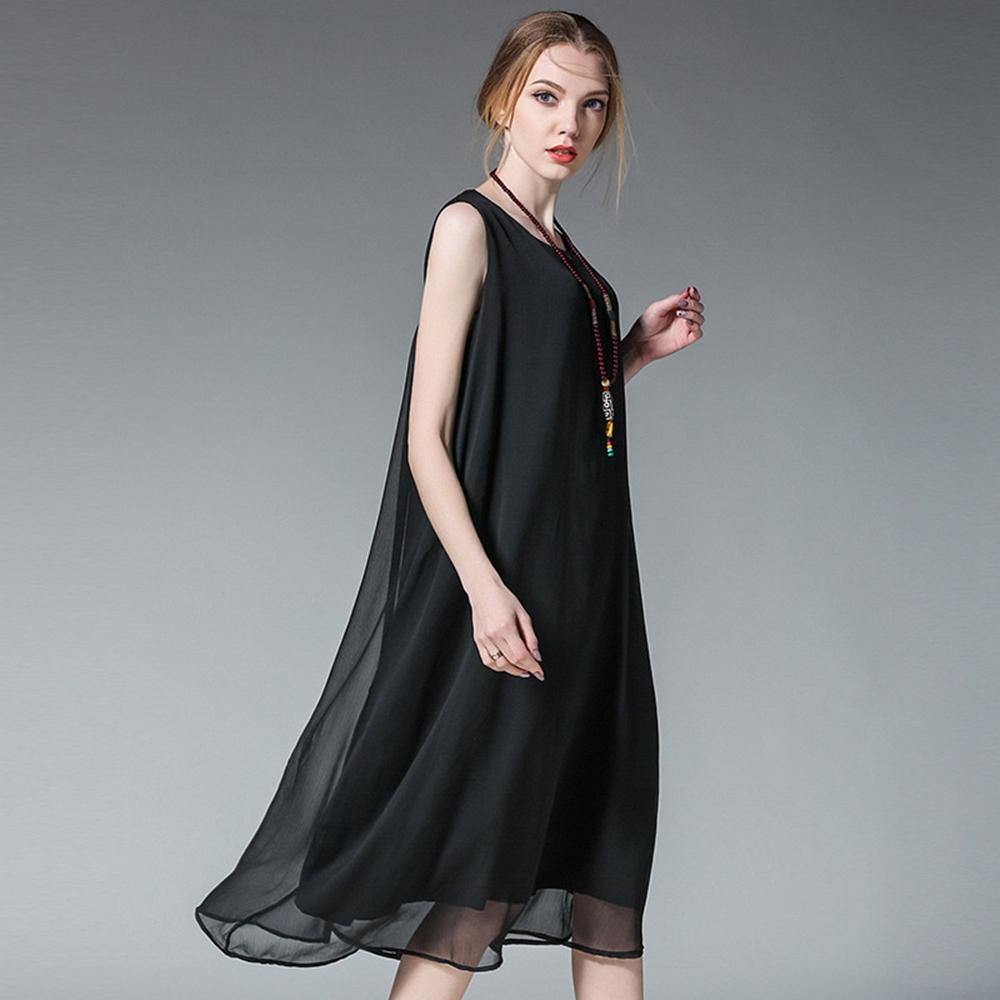 寬鬆飄逸無袖雪紡洋裝L-4XL(共六色)-KVOLL