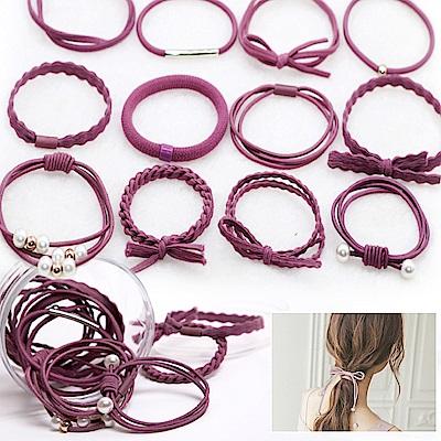 E-dot 簡約甜美風髮飾髮圈12件盒裝(優雅紫)