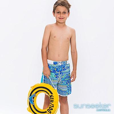 澳洲Sunseeker抗UV防曬海灘褲泳褲-大男童/水波藍