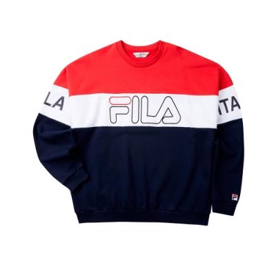 FILA #LINEA ITALIA 長袖圓領T恤-丈青 1TET-5405-NV