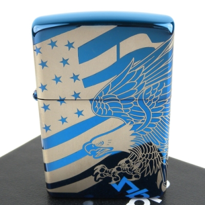 ZIPPO 美系~Patriotic Design-美國國旗鷹圖案-4面連續雷射雕刻加工