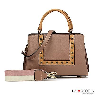 La Moda 時尚超HOT元素鉚釘裝飾2WAY肩背手提托特包(棕)