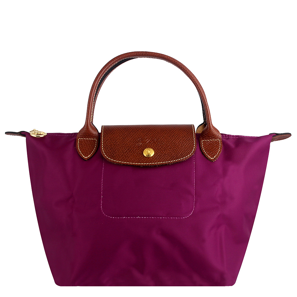 Longchamp 短帶折疊水餃包(紫紅色/小) @ Y!購物